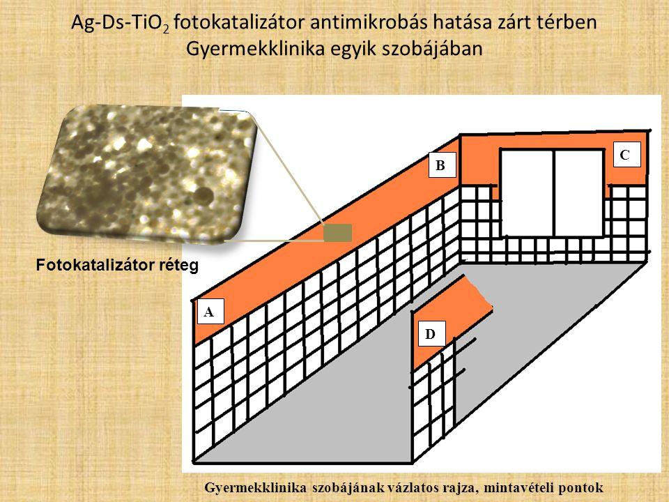 Ag-Ds-TiO 2 fotokatalizátor antimikrobás hatása zárt térben Gyermekklinika egyik szobájában A B C D Gyermekklinika szobájának vázlatos rajza, mintavét