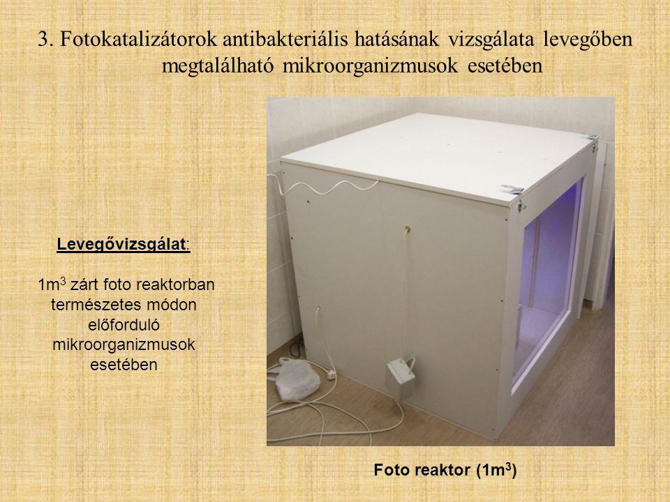 Levegővizsgálat: 1m 3 zárt foto reaktorban természetes módon előforduló mikroorganizmusok esetében Foto reaktor (1m 3 )