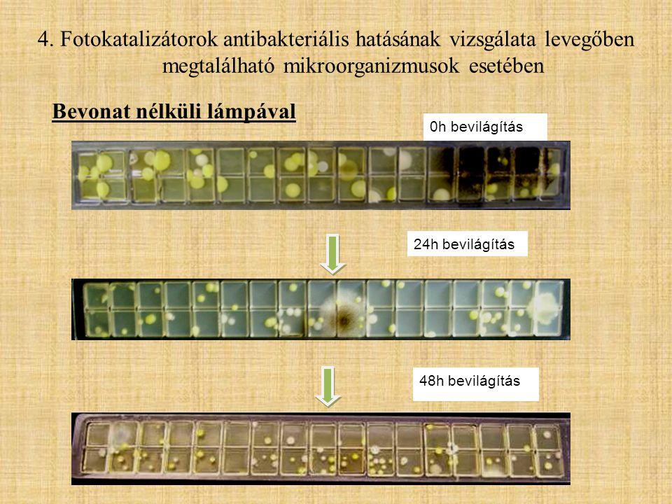 24h bevilágítás 48h bevilágítás 0h bevilágítás Bevonat nélküli lámpával 4. Fotokatalizátorok antibakteriális hatásának vizsgálata levegőben megtalálha