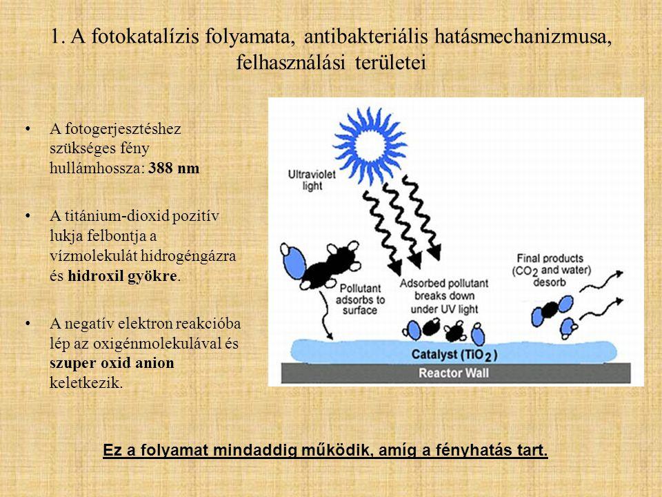 1. A fotokatalízis folyamata, antibakteriális hatásmechanizmusa, felhasználási területei • A fotogerjesztéshez szükséges fény hullámhossza: 388 nm • A