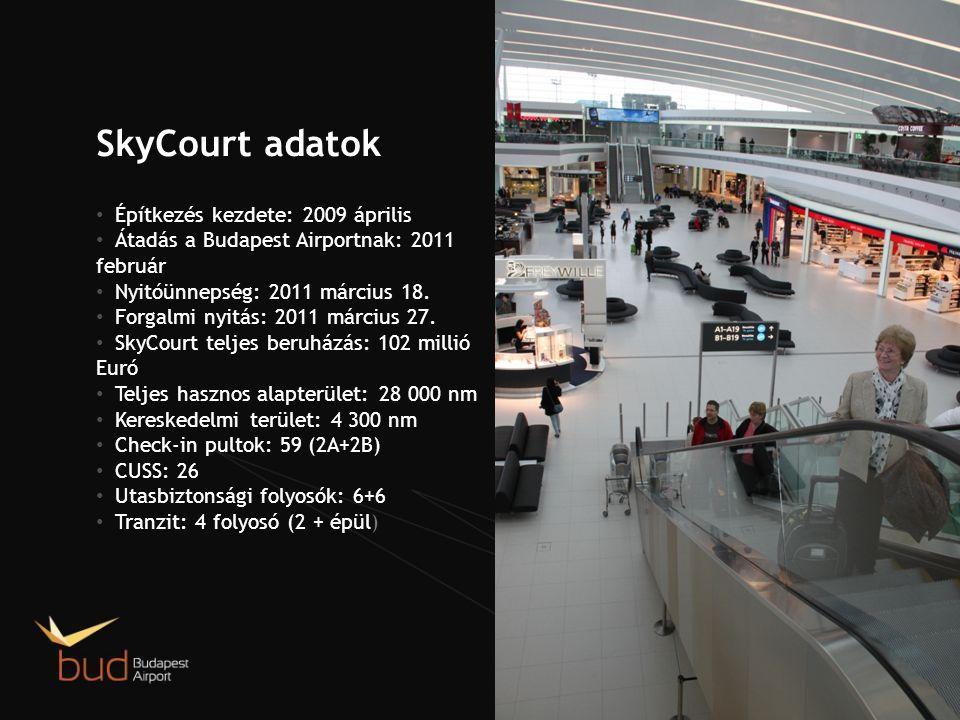 SkyCourt adatok • Építkezés kezdete: 2009 április • Átadás a Budapest Airportnak: 2011 február • Nyitóünnepség: 2011 március 18.