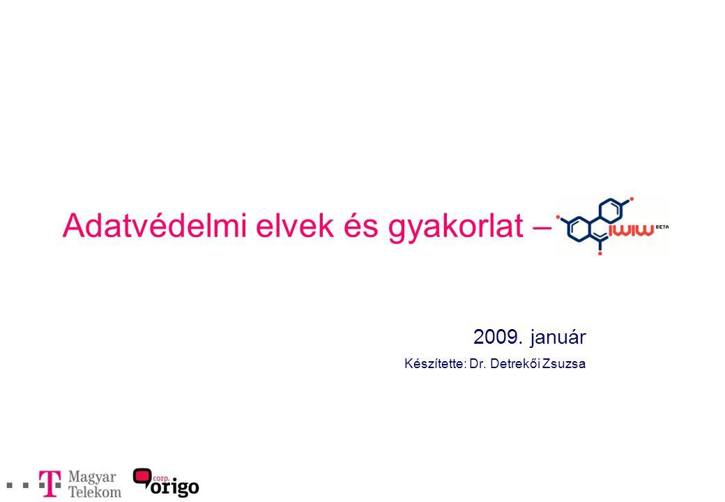 Adatvédelmi elvek és gyakorlat – 2009. január Készítette: Dr. Detrekői Zsuzsa