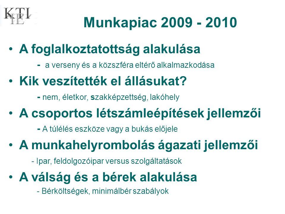 Munkapiac 2009 - 2010 •A foglalkoztatottság alakulása - a verseny és a közszféra eltérő alkalmazkodása •Kik veszítették el állásukat.