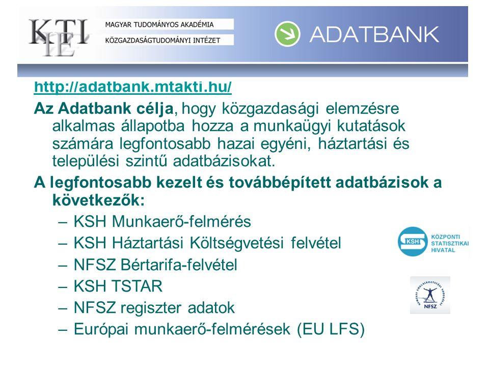 http://adatbank.mtakti.hu/ Az Adatbank célja, hogy közgazdasági elemzésre alkalmas állapotba hozza a munkaügyi kutatások számára legfontosabb hazai egyéni, háztartási és települési szintű adatbázisokat.