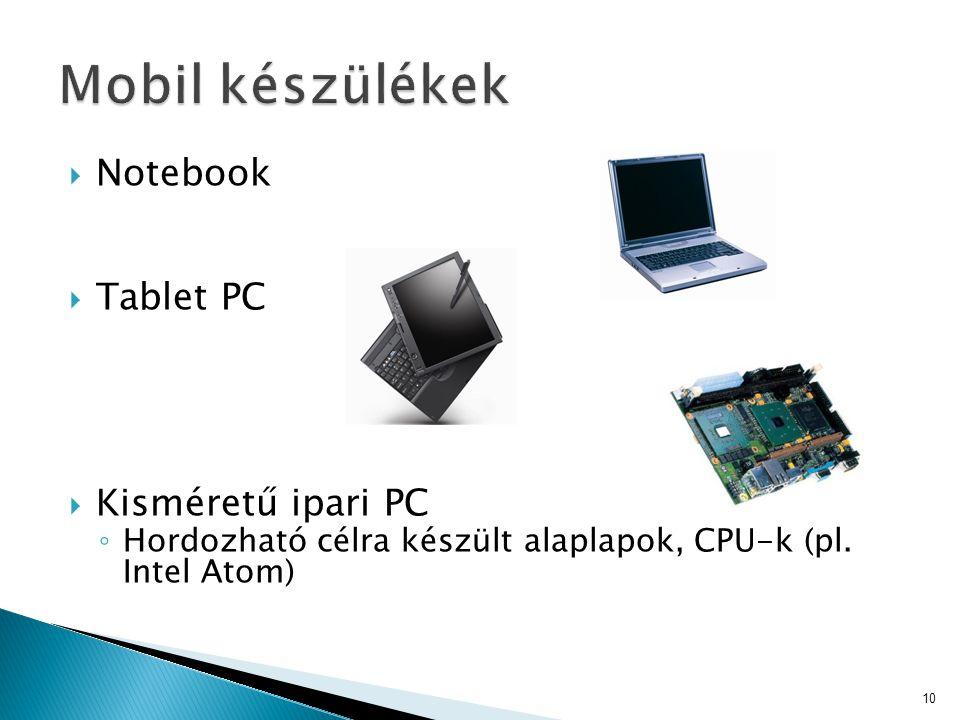  Notebook  Tablet PC  Kisméretű ipari PC ◦ Hordozható célra készült alaplapok, CPU-k (pl.