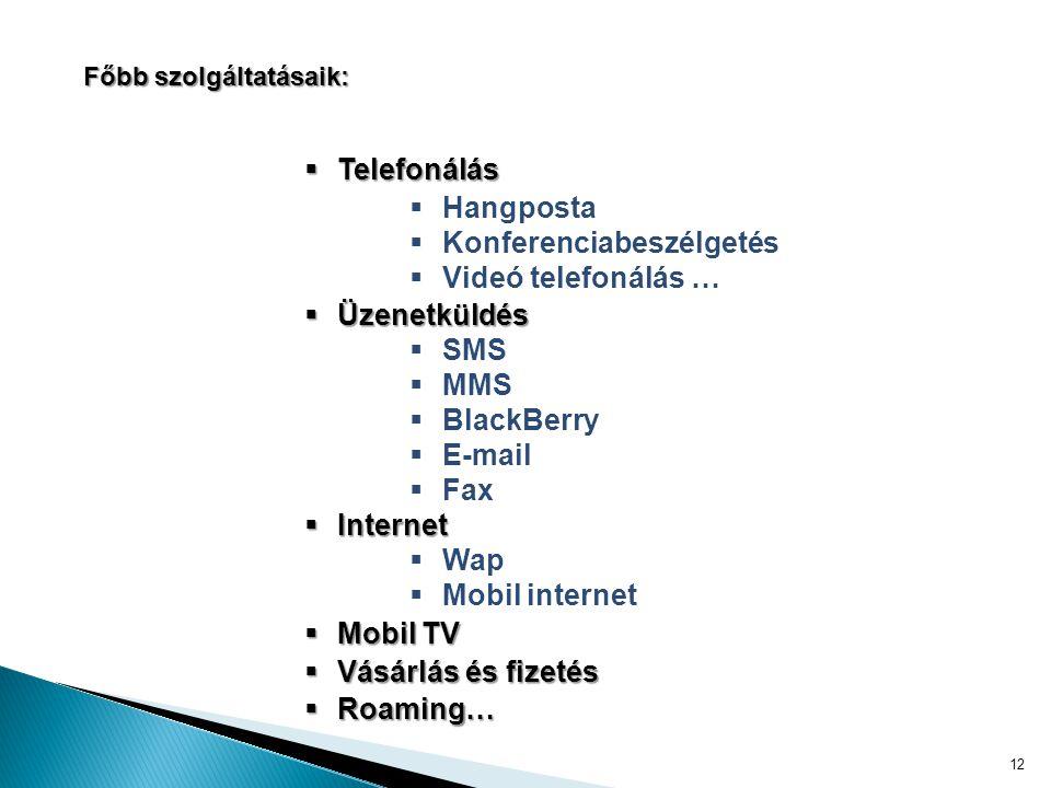 12 Főbb szolgáltatásaik:  Telefonálás  Hangposta  Konferenciabeszélgetés  Videó telefonálás …  Üzenetküldés  SMS  MMS  BlackBerry  E-mail  Fax  Internet  Wap  Mobil internet  Mobil TV  Vásárlás és fizetés  Roaming…