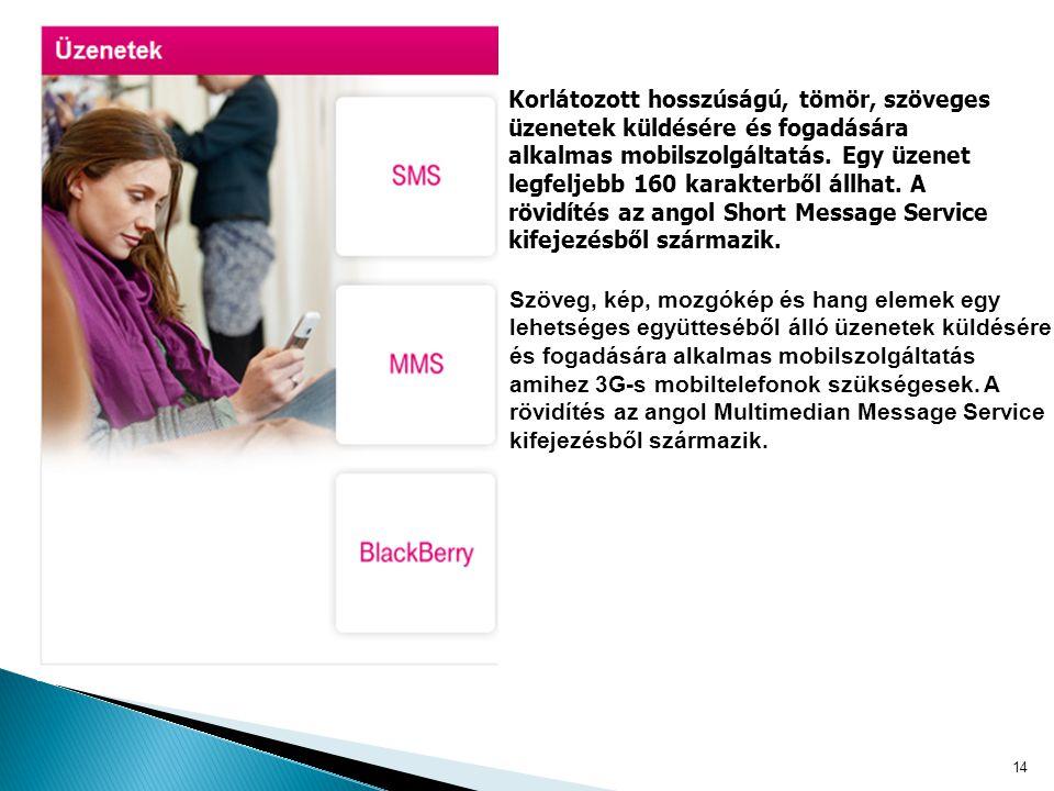 14 Korlátozott hosszúságú, tömör, szöveges üzenetek küldésére és fogadására alkalmas mobilszolgáltatás.