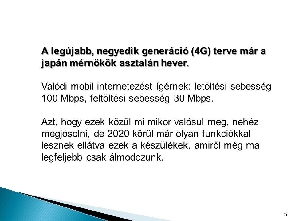 19 A legújabb, negyedik generáció (4G) terve már a japán mérnökök asztalán hever.