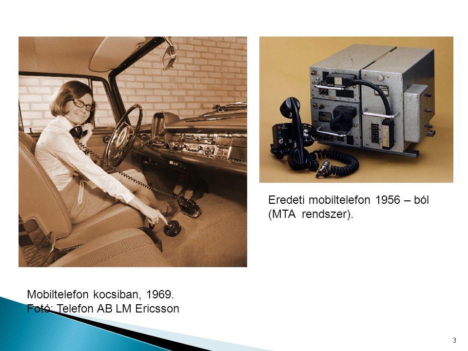 """4 Az első hordozható mobiltelefon 1983 – Motorola Dyna-TAC 8000X 1 kilogramm, 33 x 4,5 x 9 cm, 1 órányi beszélgetés, 8 órányi készenlét """"A vevők teljesen odavoltak a koncepciótól, hogy hordozható telefonjuk segítségével bárhol elérhetővé válnak."""