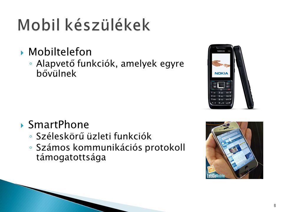  Mobiltelefon ◦ Alapvető funkciók, amelyek egyre bővülnek  SmartPhone ◦ Széleskörű üzleti funkciók ◦ Számos kommunikációs protokoll támogatottsága 8