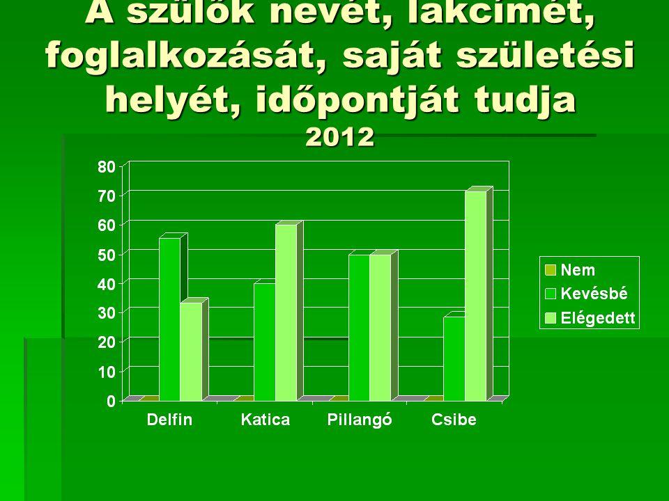 A szülők nevét, lakcímét, foglalkozását, saját születési helyét, időpontját tudja 2012