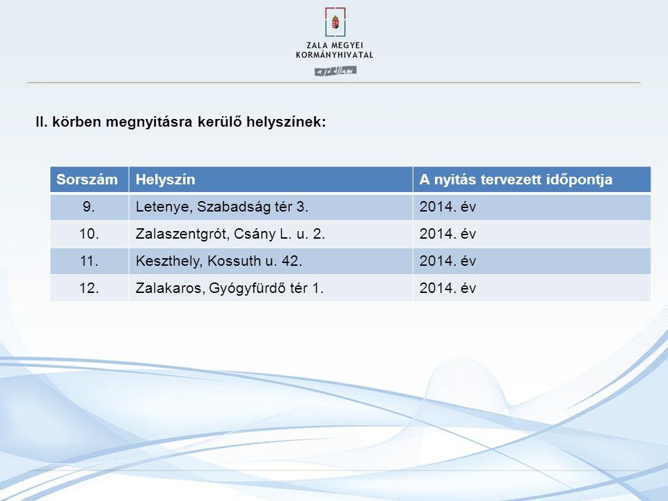 II. körben megnyitásra kerülő helyszínek: SorszámHelyszínA nyitás tervezett időpontja 9.Letenye, Szabadság tér 3.2014. év 10.Zalaszentgrót, Csány L. u
