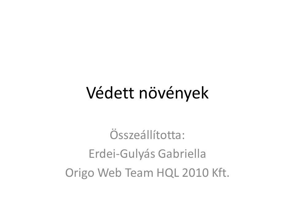 Védett növények Összeállította: Erdei-Gulyás Gabriella Origo Web Team HQL 2010 Kft.