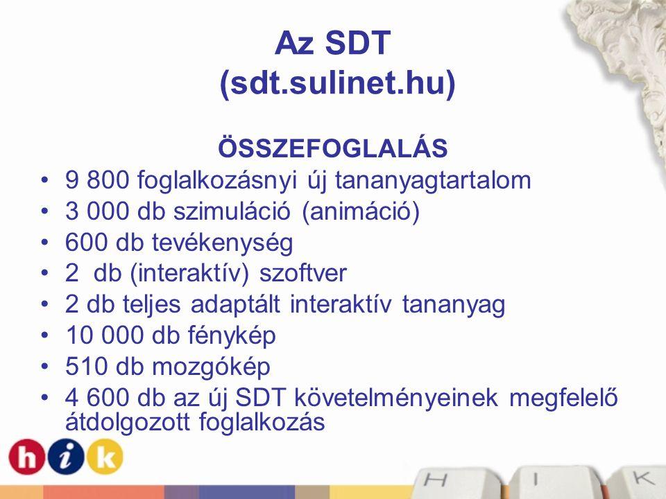Az SDT (sdt.sulinet.hu) ÖSSZEFOGLALÁS •9 800 foglalkozásnyi új tananyagtartalom •3 000 db szimuláció (animáció) •600 db tevékenység •2 db (interaktív)