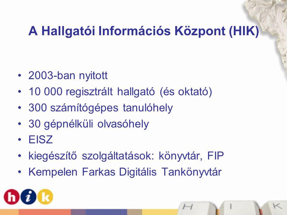 A Hallgatói Információs Központ (HIK) •2003-ban nyitott •10 000 regisztrált hallgató (és oktató) •300 számítógépes tanulóhely •30 gépnélküli olvasóhel