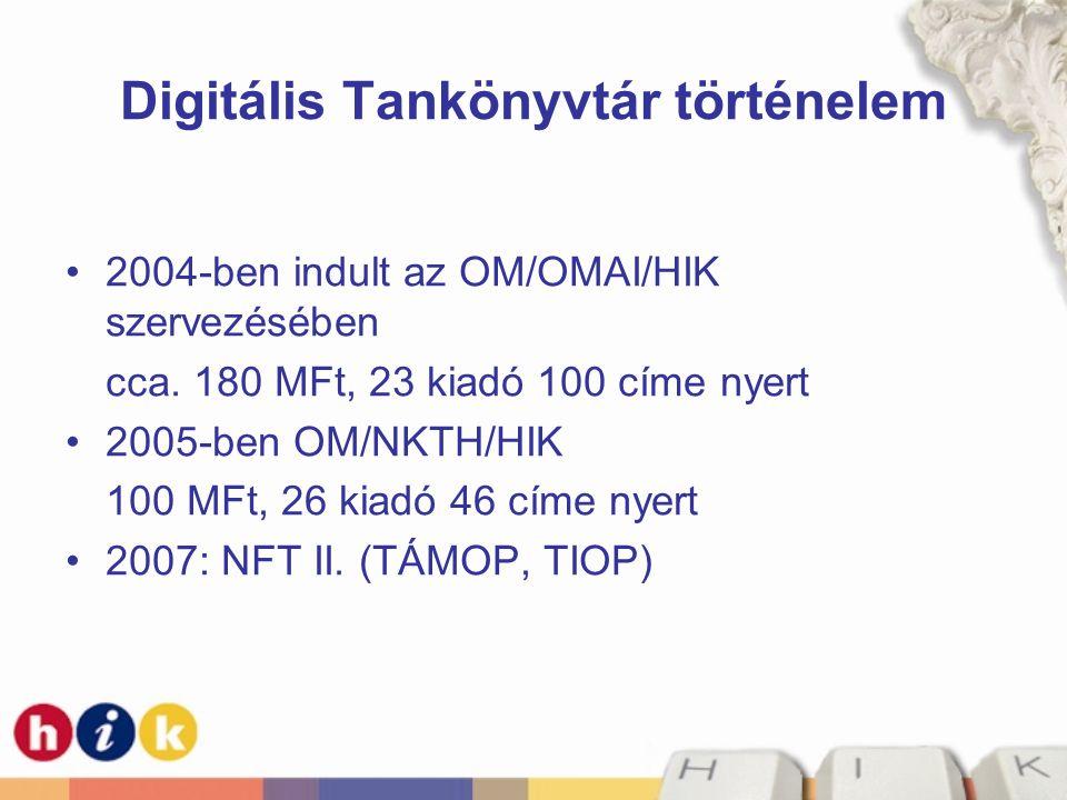 Digitális Tankönyvtár történelem •2004-ben indult az OM/OMAI/HIK szervezésében cca. 180 MFt, 23 kiadó 100 címe nyert •2005-ben OM/NKTH/HIK 100 MFt, 26