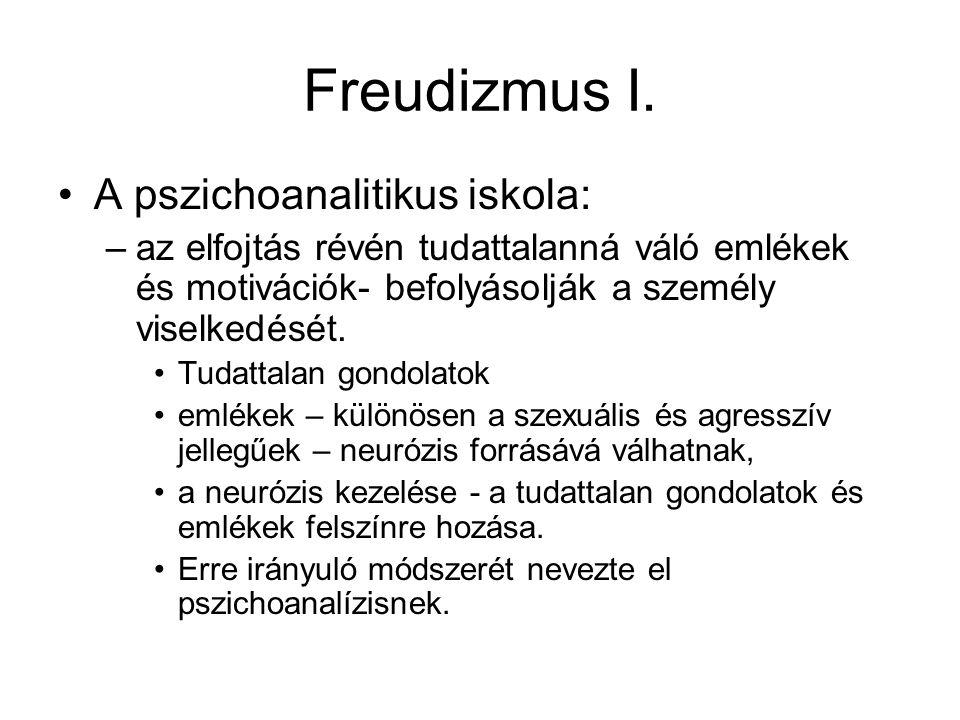 Freudizmus I. •A pszichoanalitikus iskola: –az elfojtás révén tudattalanná váló emlékek és motivációk- befolyásolják a személy viselkedését. •Tudattal