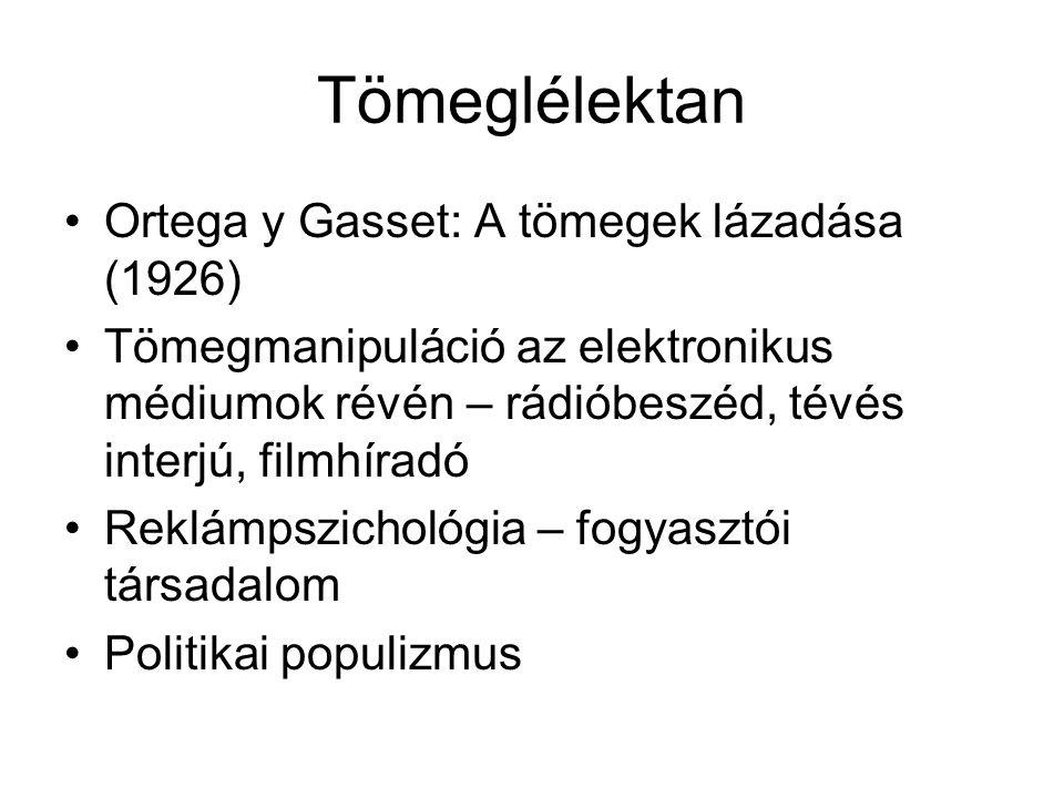Tömeglélektan •Ortega y Gasset: A tömegek lázadása (1926) •Tömegmanipuláció az elektronikus médiumok révén – rádióbeszéd, tévés interjú, filmhíradó •R