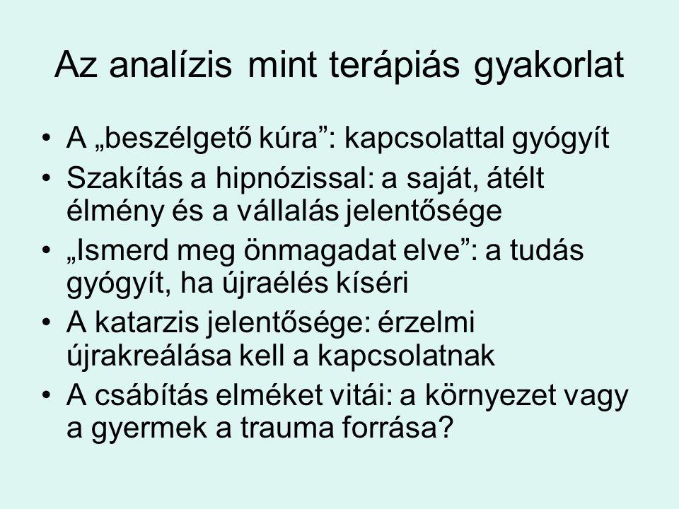 """Az analízis mint terápiás gyakorlat •A """"beszélgető kúra"""": kapcsolattal gyógyít •Szakítás a hipnózissal: a saját, átélt élmény és a vállalás jelentőség"""