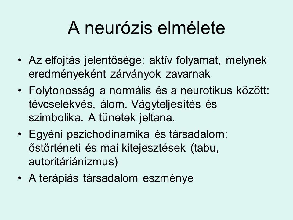 A neurózis elmélete •Az elfojtás jelentősége: aktív folyamat, melynek eredményeként zárványok zavarnak •Folytonosság a normális és a neurotikus között