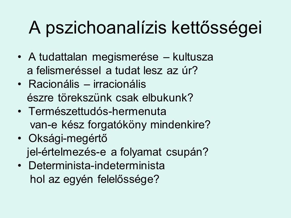 A pszichoanalízis kettősségei •A tudattalan megismerése – kultusza a felismeréssel a tudat lesz az úr? •Racionális – irracionális észre törekszünk csa