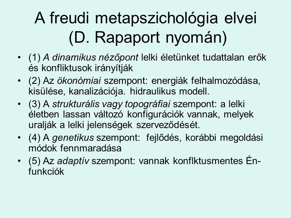 A freudi metapszichológia elvei (D. Rapaport nyomán) •(1) A dinamikus nézőpont lelki életünket tudattalan erők és konfliktusok irányítják •(2) Az ökon