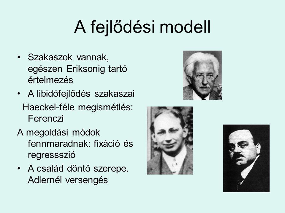 A fejlődési modell •Szakaszok vannak, egészen Eriksonig tartó értelmezés •A libidófejlődés szakaszai Haeckel-féle megismétlés: Ferenczi A megoldási mó