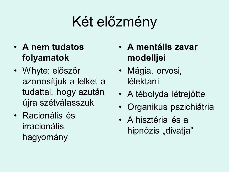 Két előzmény •A nem tudatos folyamatok •Whyte: először azonosítjuk a lelket a tudattal, hogy azután újra szétválasszuk •Racionális és irracionális hag