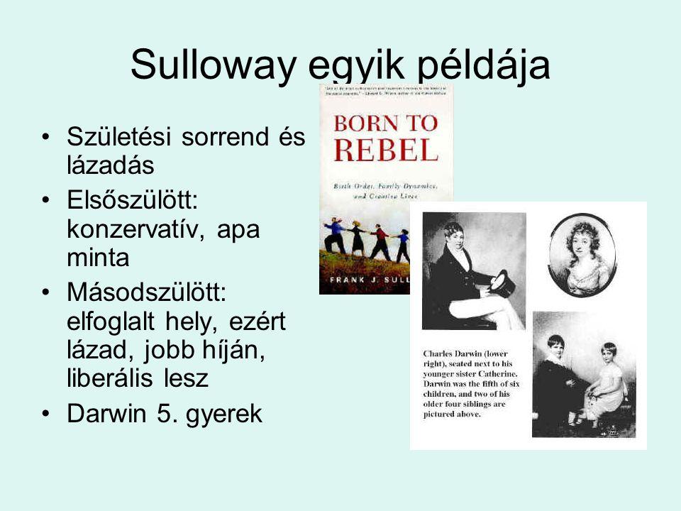 Sulloway egyik példája •Születési sorrend és lázadás •Elsőszülött: konzervatív, apa minta •Másodszülött: elfoglalt hely, ezért lázad, jobb híján, libe