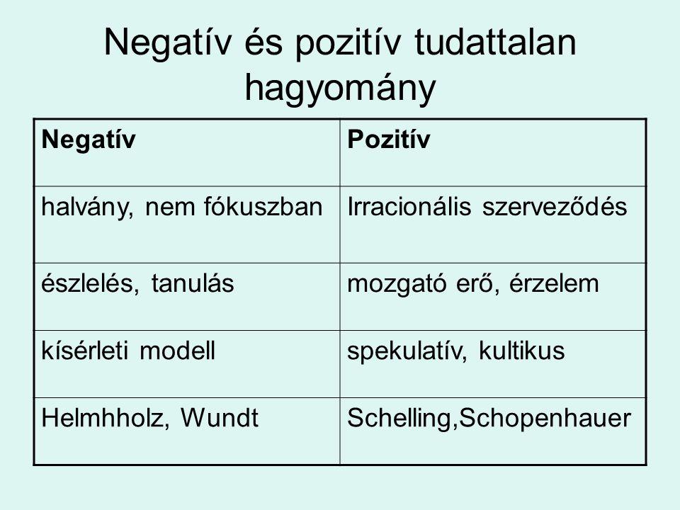 Negatív és pozitív tudattalan hagyomány NegatívPozitív halvány, nem fókuszbanIrracionális szerveződés észlelés, tanulásmozgató erő, érzelem kísérleti