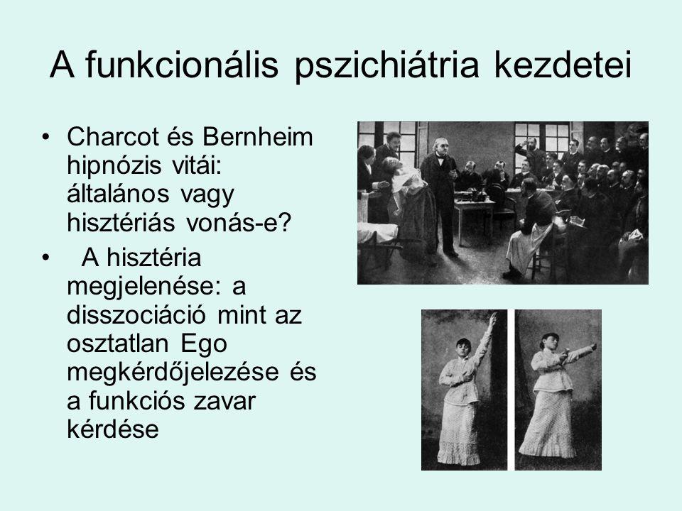 A funkcionális pszichiátria kezdetei •Charcot és Bernheim hipnózis vitái: általános vagy hisztériás vonás-e? • A hisztéria megjelenése: a disszociáció
