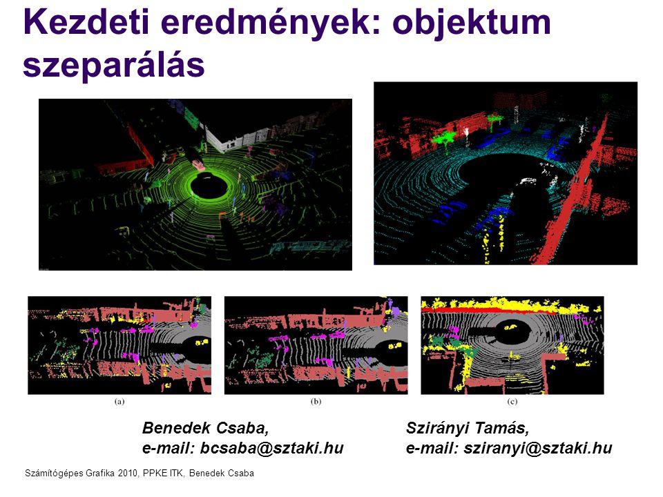 Számítógépes Grafika 2010, PPKE ITK, Benedek Csaba Kezdeti eredmények: objektum szeparálás Benedek Csaba, e-mail: bcsaba@sztaki.hu Szirányi Tamás, e-m
