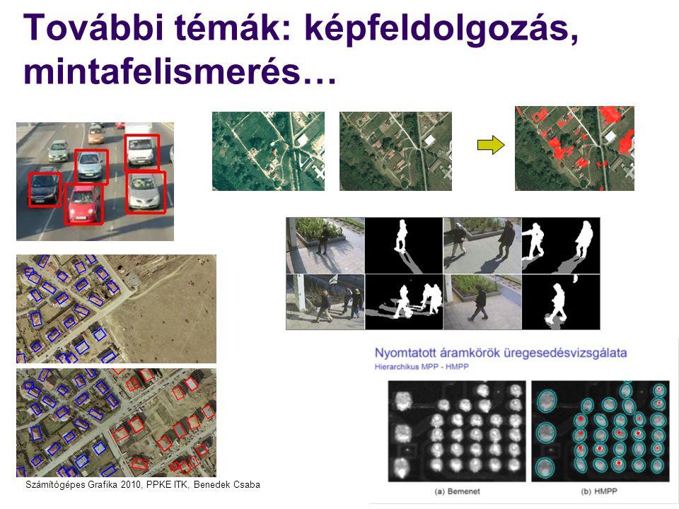 Számítógépes Grafika 2010, PPKE ITK, Benedek Csaba További témák: képfeldolgozás, mintafelismerés…