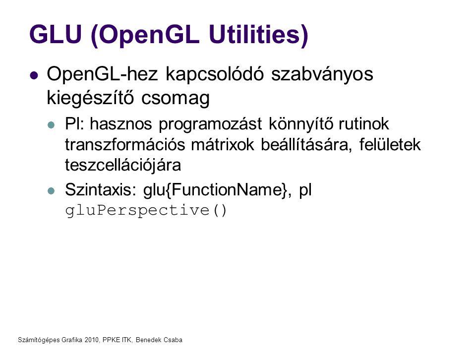 Számítógépes Grafika 2010, PPKE ITK, Benedek Csaba GLU (OpenGL Utilities)  OpenGL-hez kapcsolódó szabványos kiegészítő csomag  Pl: hasznos programoz