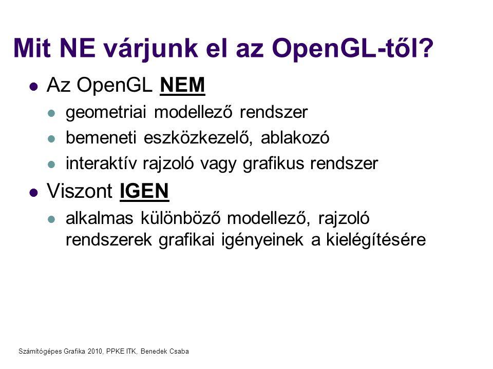Számítógépes Grafika 2010, PPKE ITK, Benedek Csaba Mit NE várjunk el az OpenGL-től?  Az OpenGL NEM  geometriai modellező rendszer  bemeneti eszközk