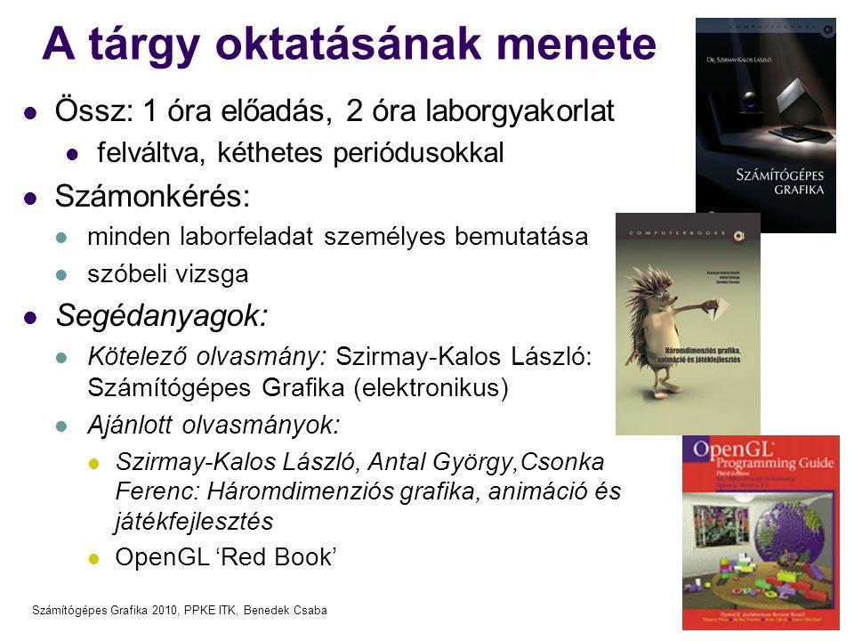 Számítógépes Grafika 2010, PPKE ITK, Benedek Csaba GLUT: eseménykezelés main( int argc, char *argv[] ) { … glutKeyboardFunc( Keyboard ); glutDisplayFunc( ReDraw ); glutMouseFunc( MousePress ); glutMotionFunc( MouseMotion );…… } void Keyboard(unsigned char key, int x, int y) { if (key == 'd') myPressedKey_d(x, y); } void ReDraw( ) { glClearColor(0.0, 0.0, 0.0, 0.0); glClear(GL_COLOR_BUFFER_BIT); myRender( ); } void MousePress( int button, int state, int x, int y ) { if (button == GLUT_LEFT && state == GLUT_DOWN) myMouseLD(x, y); } void MouseMotion( int x, int y ) { myMouseMov(x, y); }