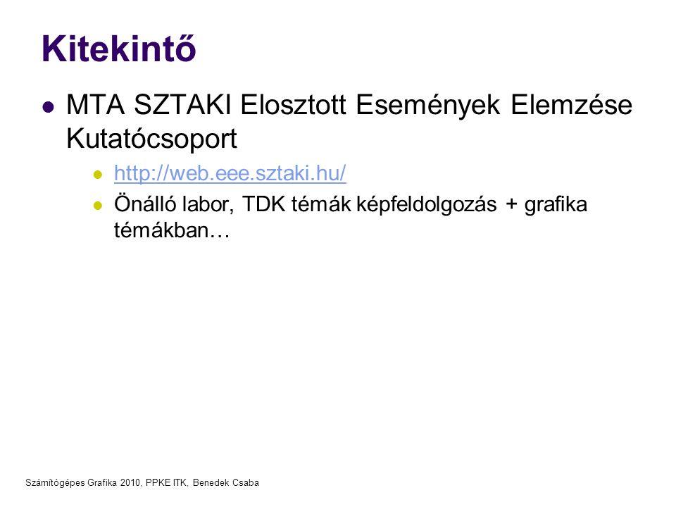 Számítógépes Grafika 2010, PPKE ITK, Benedek Csaba Kitekintő  MTA SZTAKI Elosztott Események Elemzése Kutatócsoport  http://web.eee.sztaki.hu/ http: