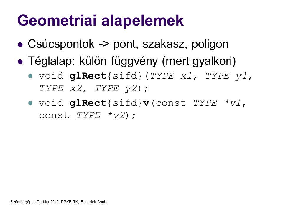 Számítógépes Grafika 2010, PPKE ITK, Benedek Csaba Geometriai alapelemek  Csúcspontok -> pont, szakasz, poligon  Téglalap: külön függvény (mert gyal