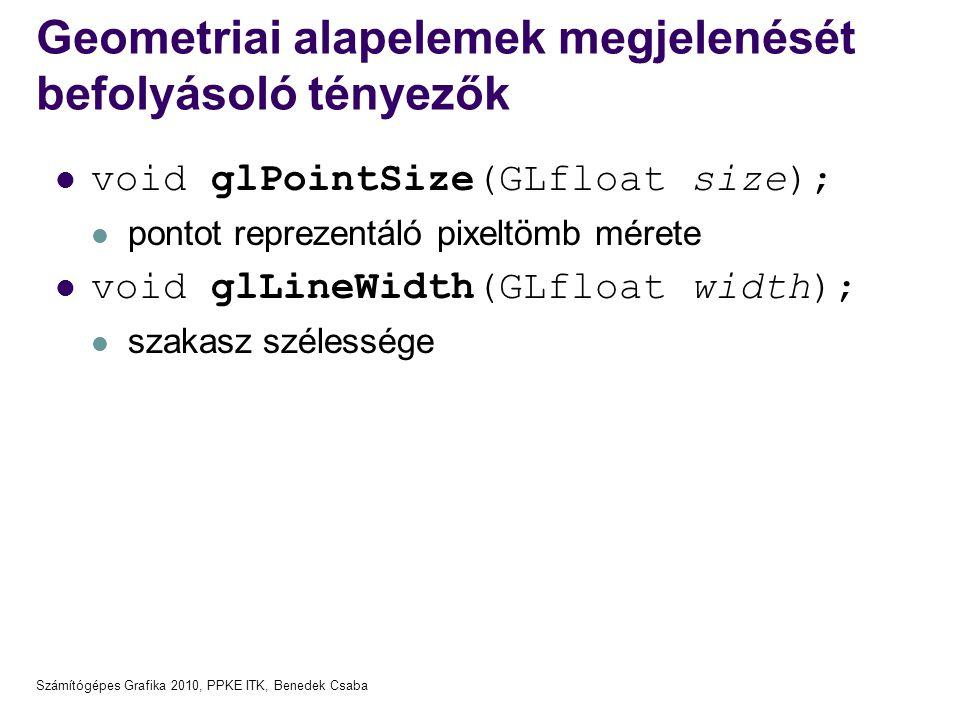 Számítógépes Grafika 2010, PPKE ITK, Benedek Csaba Geometriai alapelemek megjelenését befolyásoló tényezők  void glPointSize(GLfloat size);  pontot
