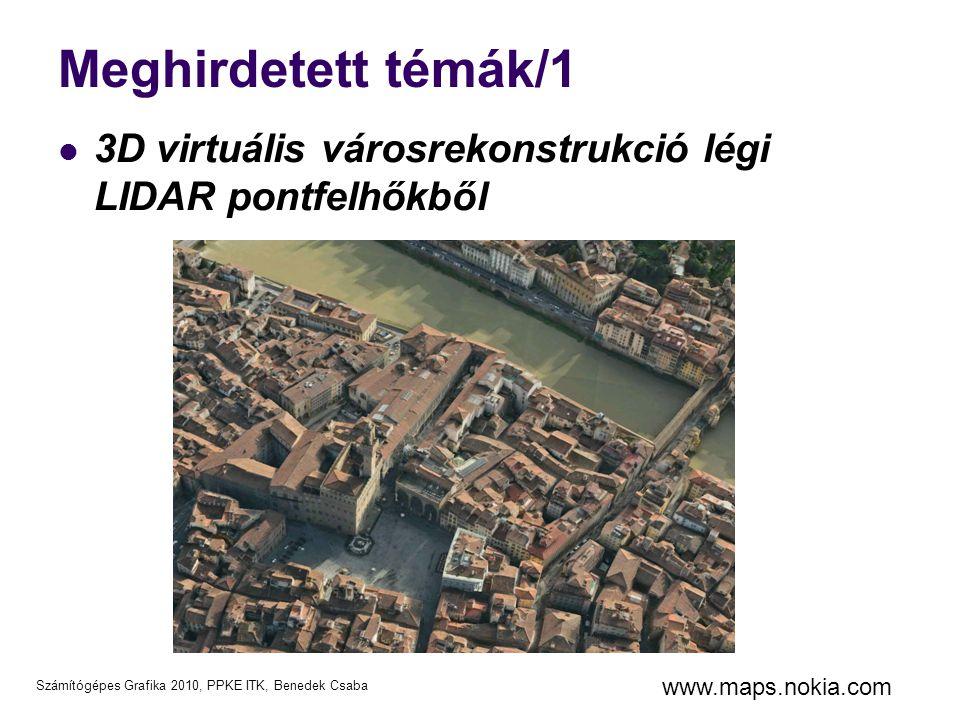 Számítógépes Grafika 2010, PPKE ITK, Benedek Csaba Légi LIDAR adatok Lézer visszaverődések száma (növényzet) Légi fotó 3D LIDAR pontfelhő LIDAR intenzitáskép