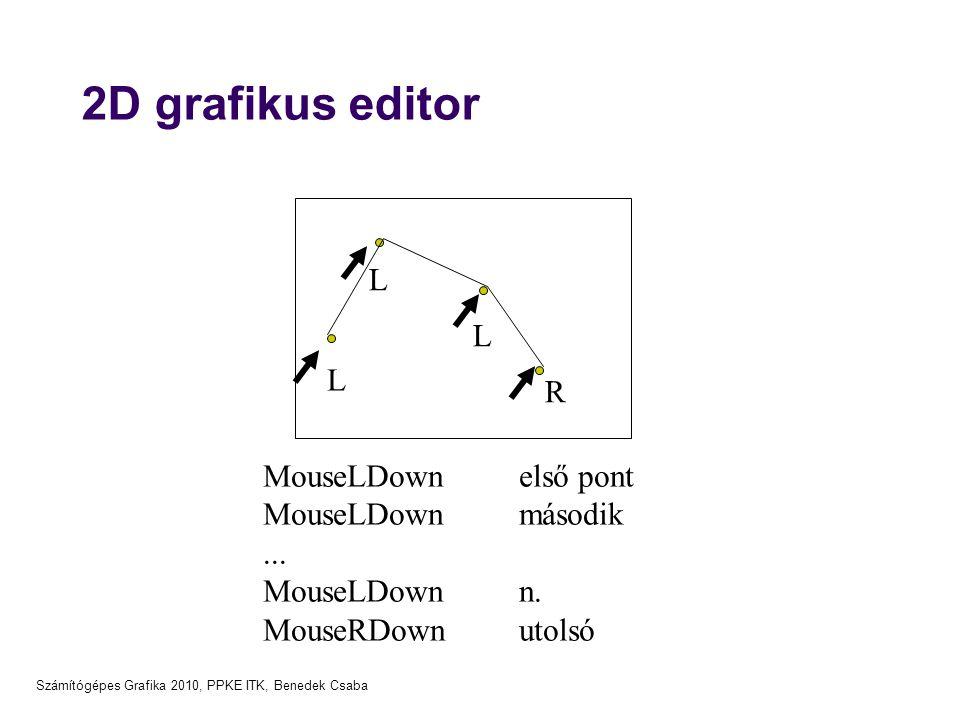 Számítógépes Grafika 2010, PPKE ITK, Benedek Csaba 2D grafikus editor L L L R MouseLDown első pont MouseLDown második... MouseLDown n. MouseRDown utol