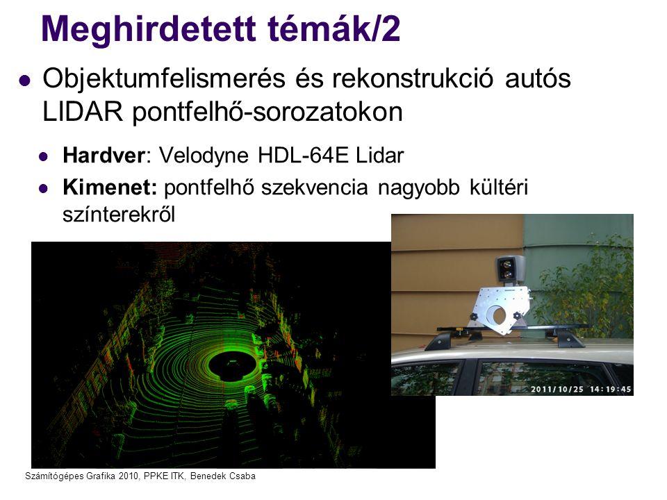 Számítógépes Grafika 2010, PPKE ITK, Benedek Csaba Meghirdetett témák/2  Objektumfelismerés és rekonstrukció autós LIDAR pontfelhő-sorozatokon  Hard