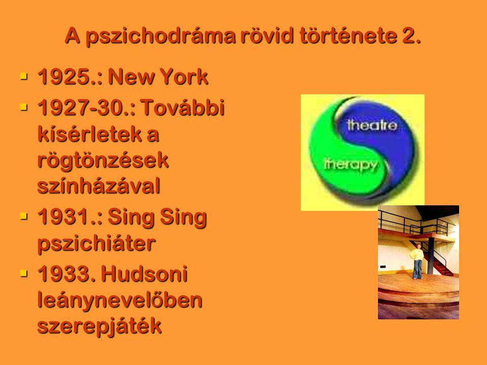 A pszichodráma rövid története 2.  1925.: New York  1927-30.: További kísérletek a rögtönzések színházával  1931.: Sing Sing pszichiáter  1933. Hu