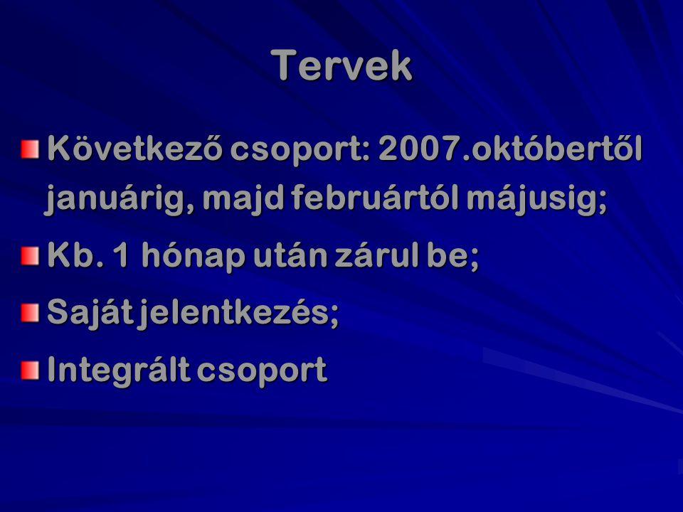 Tervek Következ ő csoport: 2007.októbert ő l januárig, majd februártól májusig; Kb. 1 hónap után zárul be; Saját jelentkezés; Integrált csoport