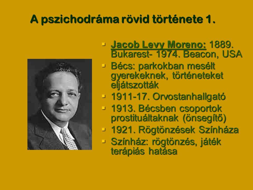 A pszichodráma rövid története 1.  Jacob Levy Moreno: 1889. Bukarest- 1974. Beacon, USA  Bécs: parkokban mesélt gyerekeknek, történeteket eljátszott