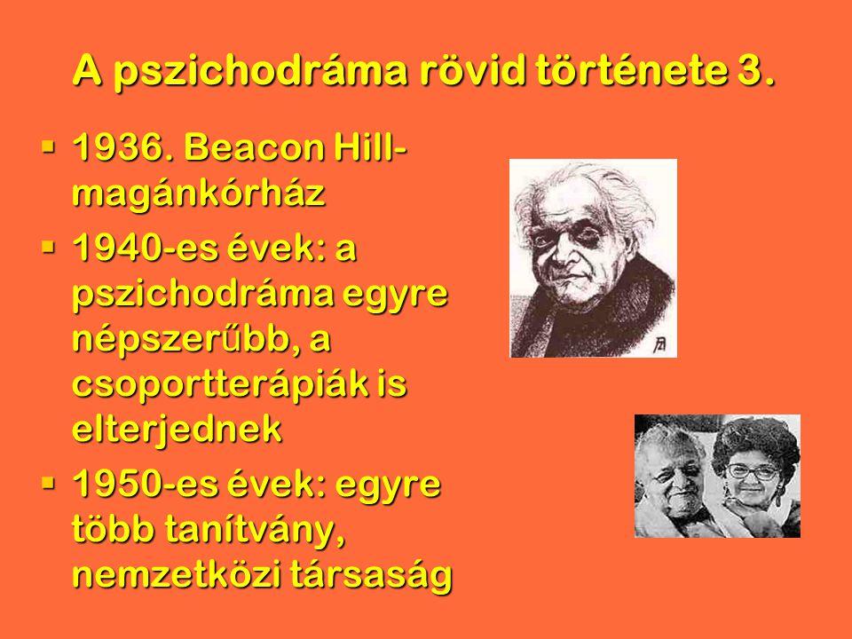 A pszichodráma rövid története 3.  1936. Beacon Hill- magánkórház  1940-es évek: a pszichodráma egyre népszer ű bb, a csoportterápiák is elterjednek