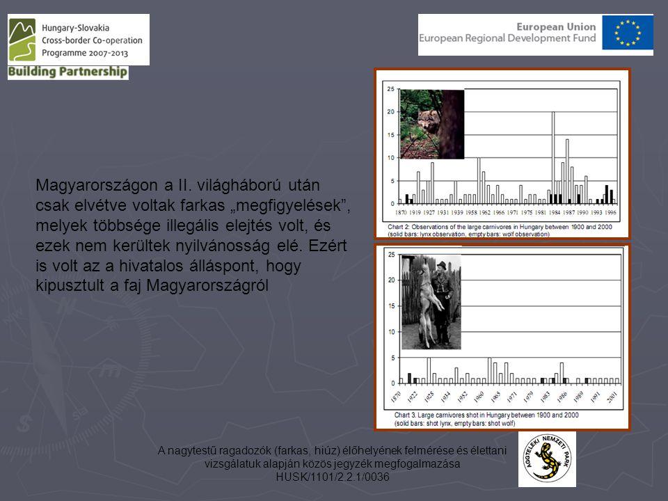 A nagytestű ragadozók (farkas, hiúz) élőhelyének felmérése és élettani vizsgálatuk alapján közös jegyzék megfogalmazása HUSK/1101/2.2.1/0036 Magyarors