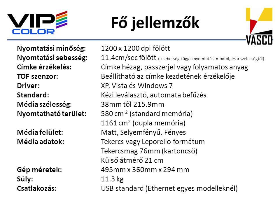 Fő jellemzők Nyomtatási minőség:1200 x 1200 dpi fölött Nyomtatási sebesség:11.4cm/sec fölött (a sebesség függ a nyomtatási módtól, és a szélességtől)