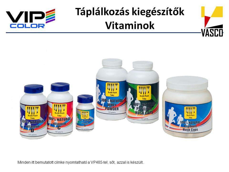 Táplálkozás kiegészítők Vitaminok Minden itt bemutatott címke nyomtatható a VP485-tel, sőt, azzal is készült.