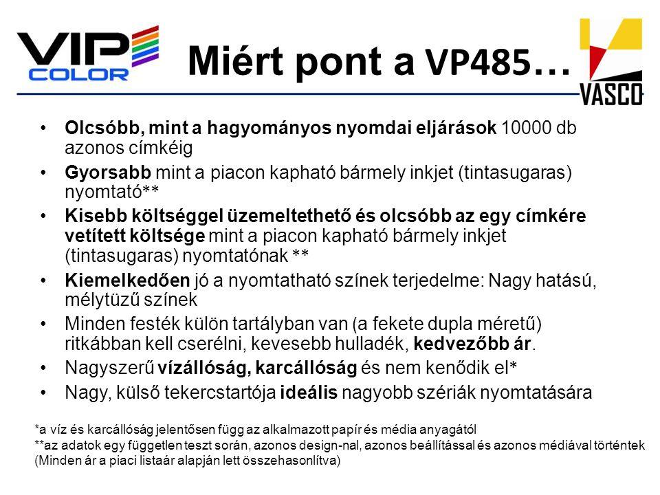 Miért pont a VP485 … •Olcsóbb, mint a hagyományos nyomdai eljárások 10000 db azonos címkéig •Gyorsabb mint a piacon kapható bármely inkjet (tintasugar